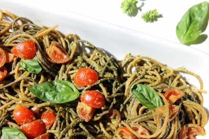 gluten free buckwheat & lentil spaghetti with basil pesto and cherry tomatoes