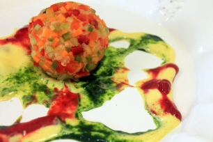 veggie ball with sauces
